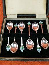 More details for  cased vintage sterling silver hallmarked 1950 enamel flower 6 x tea spoons  aao