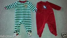Small Wonders TCP Christmas Holiday Footed Sleeper Pajamas Velour 6-9M Boy Girl