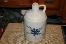 Pottery Jug Painted Blue Flower Crackle Finish Country Decor