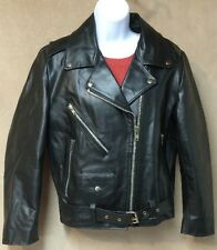 Women 12 Classic Leather Motorcycle Jacket Quilt Lined Belted Brown Niki Korea