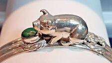 Rare Carol Felley Boar Ox Pig Swine Malachite Sterling Silver Wide Cuff Bracelet