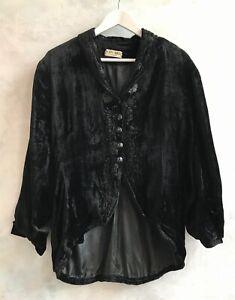 Vintage BODY BEST Black Velvet Embroidered Steampunk Victorian Gothic Jacket Med