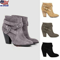 US Womens Block High Heel Short Ankle Boots Casual Buckle Martin Shoes Booties