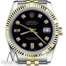 Men's Rolex 36mm Datejust 18K SS 2 Tone Black 8+2 Diamond Accent Classic Watch