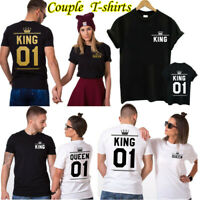 Summer Fashion Love Matching Couple T-Shirt 01 Crown King Queen Unisex Tee Tops