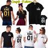 Summer Fashion Love Matching Couple T-Shirt 01 Crown King Queen Unisex Tee Tops