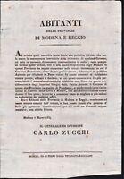 Moti 1831-Il generale Zucchi assume il governo di Modena e Reggio 7 marzo 1831