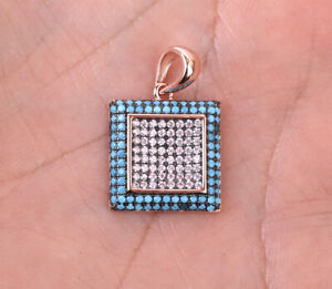 SQUARE TURQUOISE ROSE GOLD COLORED OVER .925 STERLING SILVER PENDANT #33774