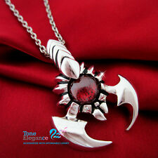 18k 18ct white gold filled GF men women Scorpion long necklace w/ simulated ruby
