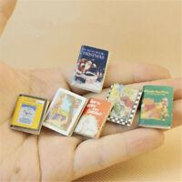 6pcs/Set Wooden Comic Books Miniature Dollhouse Accessories Decor Xmas Gift 1:12