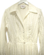 Vintage 1960s Hostess DressLong Ivory All-Lace sz M Irene Herbert's Tulsa