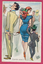 man cuckold and couple - prostitute - comic old postcard 1950s
