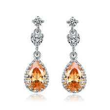 HUCHE Vintage Classic Topaz Yellow Sapphire White Gold Filled Lady Party Earring