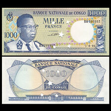 Congo 1000 1,000 Francs, 1964, P-8, With star hole,Banknotes, A-UNC
