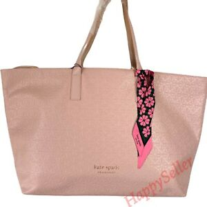 Kate Spade Tote Pink Blush Faux Leather Bag Handbag Travel Shopper New