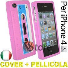 Cover Custodia Silicone Cassetta Fucsia Retrò per iPhone 4/4G/4S/S Cassette