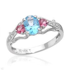 Genuine Diamonds, Topaz & Tourmaline Ring, 1.00ctw, SZ US6.5, in 10K White Gold