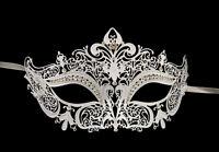 Maschera Veneziano Lupo IN Pizzo Di Metallo Bianco Strass Carnevale Venezia 1266