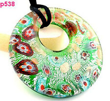 1pc circularity purple flower Murano Lampwork Glass Pendant Necklace p538