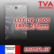 LOT 1000 sachet pochette pochon plastique zip 180x250 18x25 qualite     f