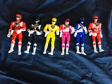 """Lot Of 6 Vintage Mighty Morphin Power Rangers Bandai 8"""" Figures 1 Kick Action"""