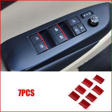 7x Red Door Window lift switch sequin cover trim For Toyota Highlander 2015-2019