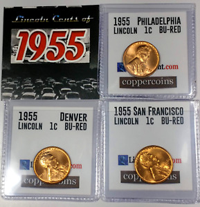 1955-P, D, S Full Red Uncirculated Lincoln Cent Set of 3 coins