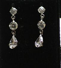 Silber hängende Ohrstecker Krist. Untert. Tropfen + Zwischt Farbe klar (Diamant)