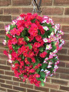 Beautiful Artificial  Morning Glory Hot Pink /pink Hanging Basket Ready To Hang