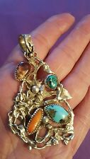 BIG BEAUTIFUL STERLING SILVER TURQUOISE SPINY SHELL PENDANT BY FRANCISCO GOMEZ
