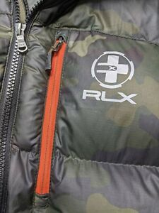Polo Ralph Lauren RLX Quilted Down Hooded Puffer Jacket CAMO Coat Mens Large Ski