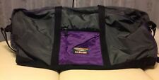 Vintage L.L. BEAN Large Gear Duffle Bag Green Purple Outdoor Travel Tote Korea
