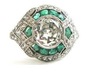 $30,150 Antique Art Deco 1.25ct central Old Mine Cut Diamond Platinum Ring