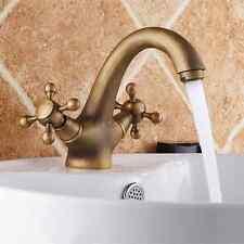 Antique Brass Bathroom Sink Faucet Dual Handle Lavatory Basin Mixer Tap