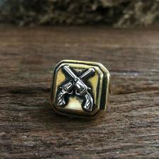 cross guns Mexican Biker Ring Skull silver Vintage brass world war cowboy West