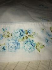Vintage Full Double Flat Floral Bed Sheet Blue Roses Muslin Bedding Bed Linens