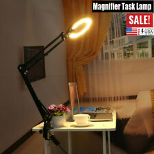LED Large Lens Lighted Lamp Top Desk 5x Magnifier Magnifying Glass with Clamp US
