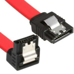 SATA Kabel Rot gewinkelt 50cm SATA I,II,III mit Clip und vergoldeten Kontakten
