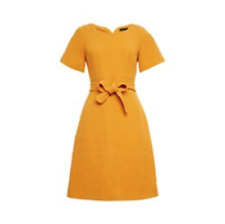 Karen Millen -- Waffle Belted Wool Mix Dress - Mustard - New With Tag - Size 14