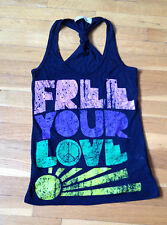 "VINTAGE HAVANA RACER BACK ""FREE YOUR LOVE"" TANK IN BLACK SIZE MEDIUM"