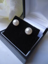 7m AAA WHITE SILVER ROSE MIRROR LUSTER AKOYA PEARL 9ct STUD EARRINGS IMMACULATE