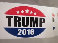WHOLESALE LOT OF 10 TRUMP FOR PRESIDENT 2016 BUMPER STICKERS USA MADE OVAL DECAL