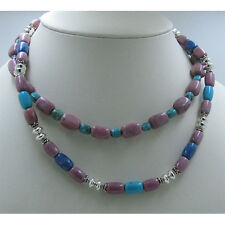 2 Separate 925 Sterling Silver Turquoise Rhodonite Lapis Tier Necklace Necklaces