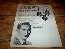 CHET ATKINS ( GRETSCH GUITAR / Country Gentleman ) 1968 Vintage magazine Ad NM-