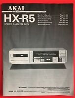 Akai HX-R5 Original Tape Deck Manual/Operating Instructions