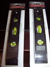 Two 9 Inch Black Magnetic Torpedo Level-Three Vials-Vertical/Horizontal/45 deg-
