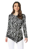 Roman Originals Zebra Print Chiffon Hem Top - Ladies Blouse