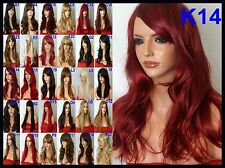 Red Burgundy Curly Long Wig Full Women Ladies Fashion Hair Wigs Heat Resist K14