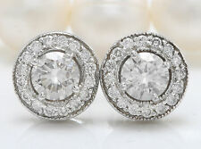 .97CTW Natural VS2-SI1 / G-H Diamonds in 14K Solid White Gold Stud Earrings