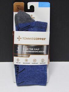 Tommie Copper Unisex OTC Over The Calf Socks Compression Socks Bijou Blue Size L
